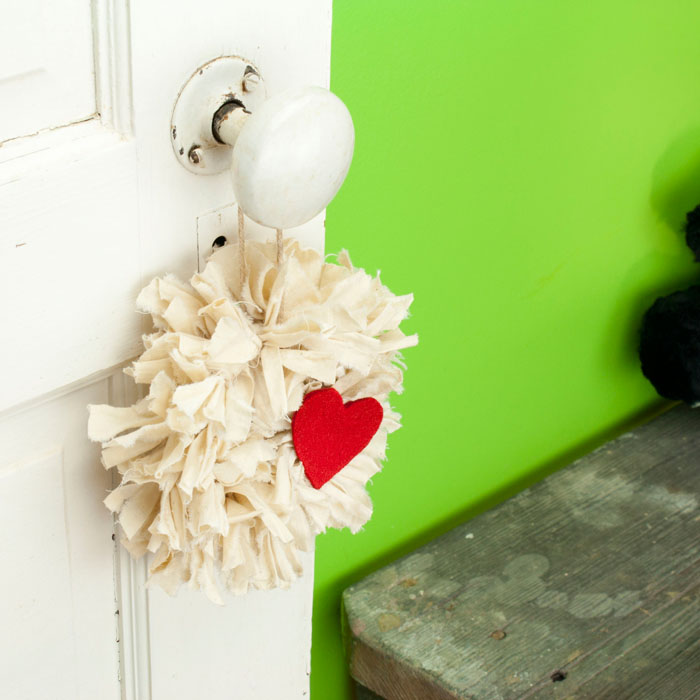 Tea Stained Mini Rag Wreath with Red Heart