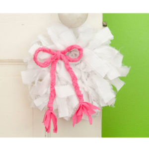 White Mini Rag Wreath with Pink Bow