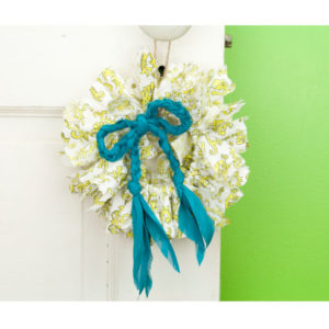 Yellow Scroll Mini Rag Wreath with Turquoise Bow