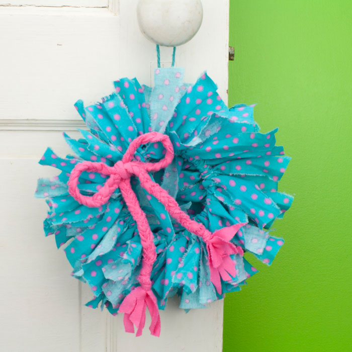 Aqua Blue & Pink Dot Mini Rag Wreath with Pink Braided Bow