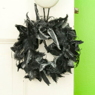 Mini Black Jean Rag Wreath