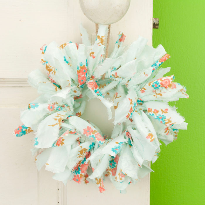 Blue Floral Mini Rag Wreath