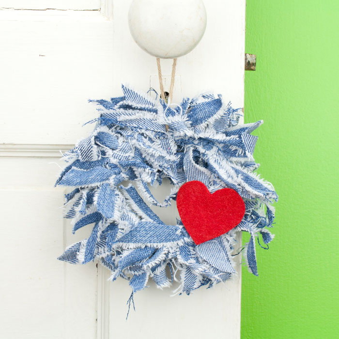 Blue Jean Mini Rag Wreath with Red Heart