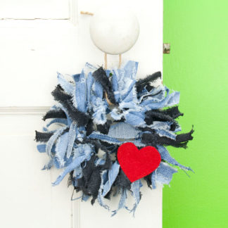 Denim Mix Mini Rag Wreath with Red Heart