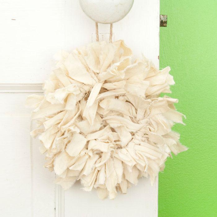 Tea Stained Mini Rag Wreath
