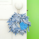 Blue Jean Mini Rag Wreath with Blue Flower Print Heart