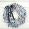 Blue Jean Rag Wreath with Black Jean Bow