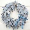 "15"" Blue Jean Rag Wreath with Blue Floral Braided Bow"