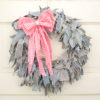 "15"" Blue Jean Rag Wreath with Pink Gingham Bow"