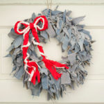 Blue Jean Rag Wreath with Red & White Braided Bow