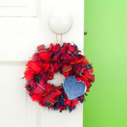 Red Tartan Mini Rag Wreath with Blue Jean Heart